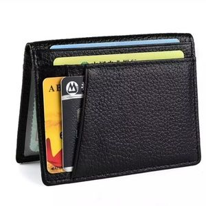 Super slim RFID genuine leather card case wallet